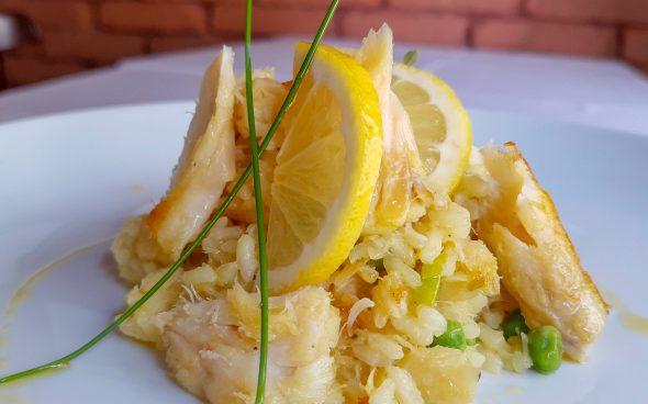 Socarrat de bacalhau com limão siciliano